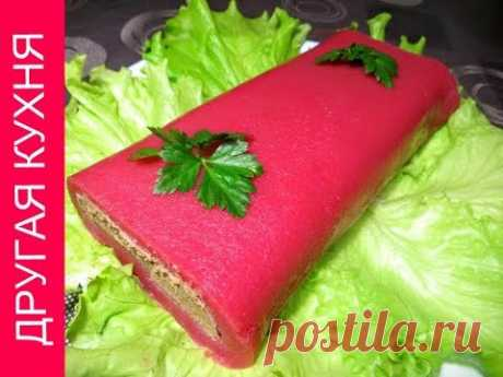 Paste from a liver in cranberry mousse. Collection of festive dishes!