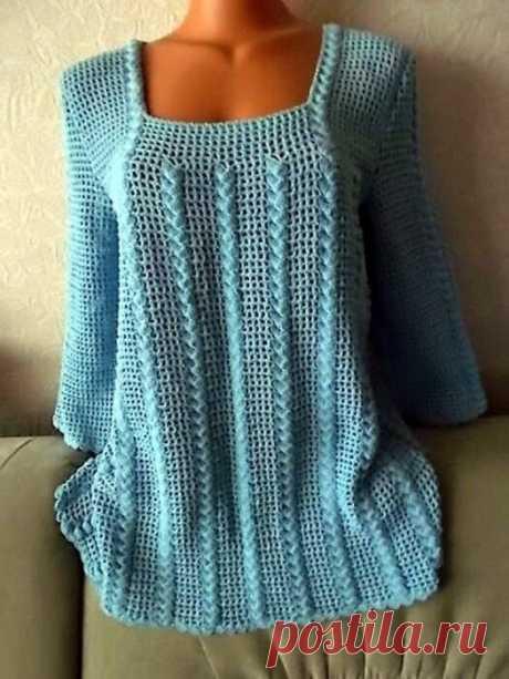7 ажурных пуловеров для коллекции. Вяжем крючком!   Южная сова   Яндекс Дзен