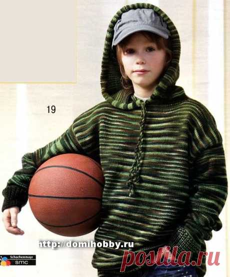 The sports jumper for the boy in fashionable street style with a hood connected from a melange yarn in practical green-brown scale will be the excellent satellite and on country walk, and during games with friends.