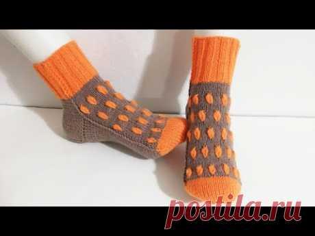 Изготовление  бесшовных носков-пинеток, вязание спицами
