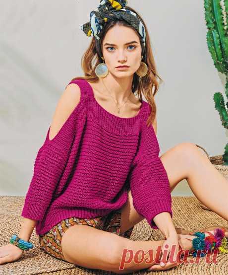 Модный джемпер цвета фуксии - схема вязания спицами с описанием на Verena.ru