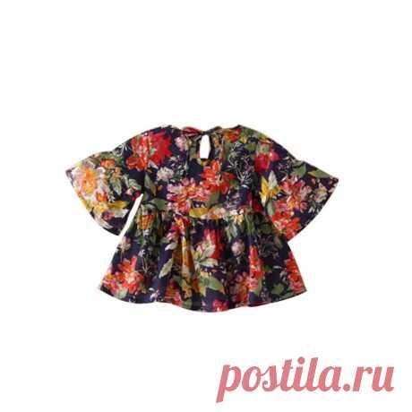 Детская одежда для девочек ретро цветочные блузка Flare рукавом О образным вырезом Футболка партия оборками Блузки для малышек купить на AliExpress