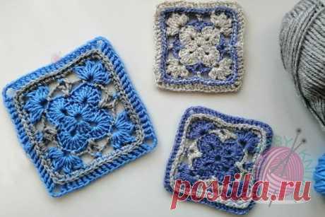 МК квадрат крючком для пледа, подушки | Easyknit Вязание | Яндекс Дзен