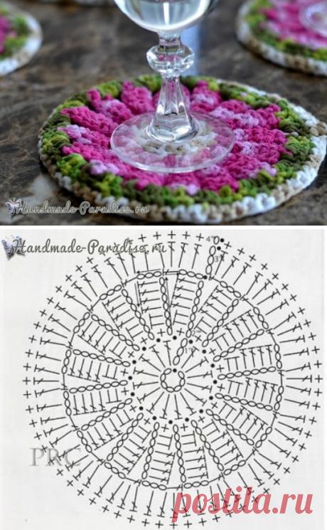 Los portavasos decorativos de flores por el gancho - Handmade-Paradise