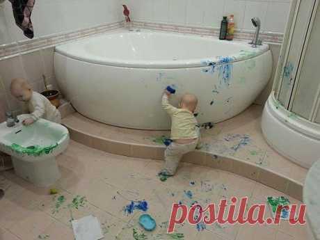 Арт-дизайн в ванной - Приколы с детьми