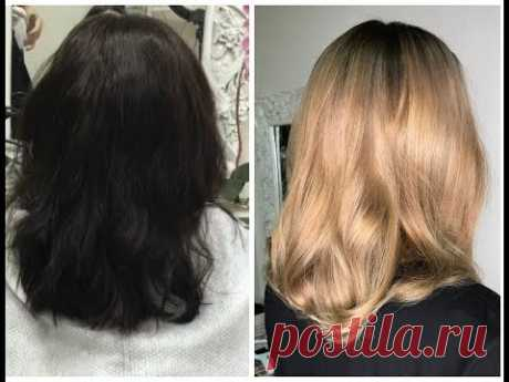 """Смывка чёрного в светло-русый оттенок (пошаговый рецепт). From black """"box color"""" to dark blond"""