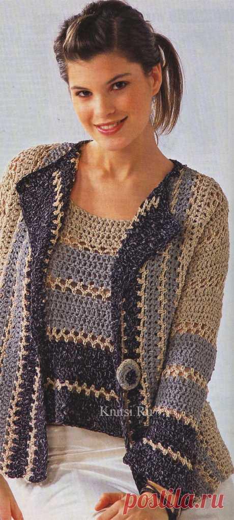Жакет с полосатым узором и полосатый топ. Вязание для женщин, Жакеты, Крючком Схемы вязания Жакет с полосатым узором и полосатый топ. Вязание для женщин, Жакеты, Крючком. Уроки вязания для начинающих. Бесплатные схемы вязания с подробным описанием на KNITSI.RU