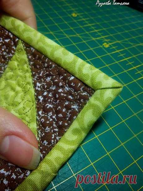Как аккуратно оформить уголок изделия косой бейкой