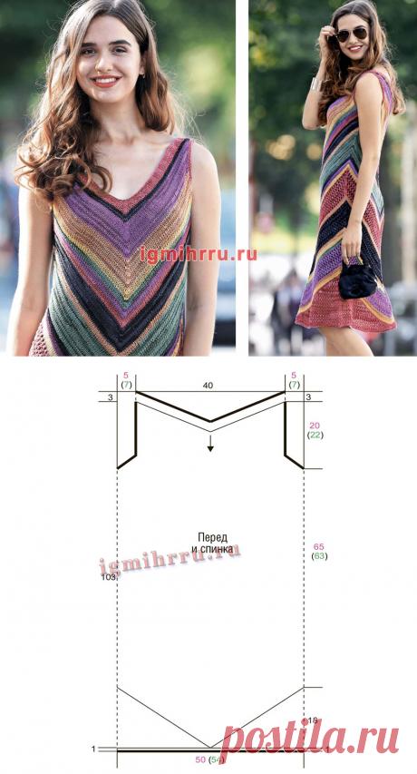 Разноцветное летнее платье в полоску. Вязание спицами со схемами и описанием