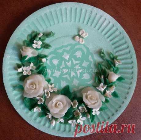 Розы из холодного фарфора для декорирования тарелки. Мастер-класс с пошаговым фото