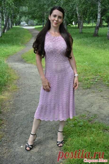 """. Платье """"Сирень"""" Всем добро пожаловать!!!!  Мое любимое платье Сирень . Вязала из ниточек Demi крючком 1,75. Верх из мотивов,низ веерочки . Все схемы ниже. Буду рада,если кому-то пригодится.  Мотив:"""