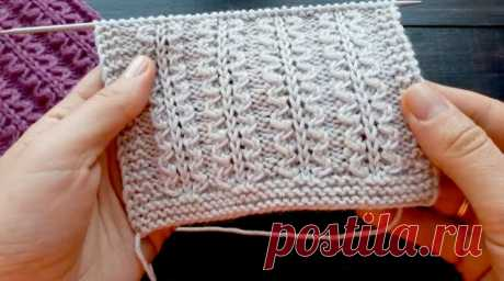 Красивый узор спицами для шапок, свитеров! (Вязание спицами) – Журнал Вдохновение Рукодельницы