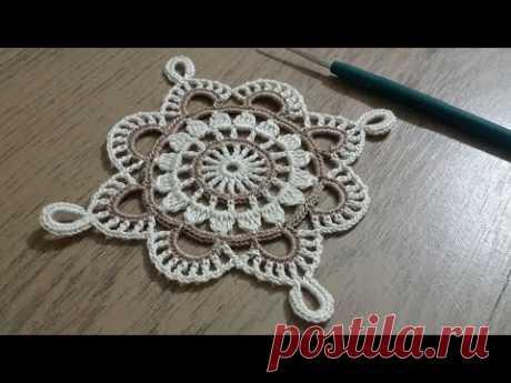 Tığişi Örgü Kare Dantel Yapımı, Renkli iplerle tek parça sehpa örtüsü & Crochet doily
