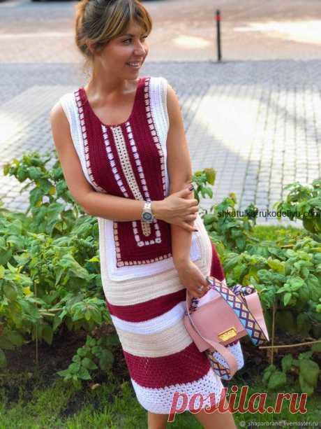 """Летнее платье """"Сафари"""" Летнее платье Сафари крючком. Женское платье в этническом стиле крючком"""