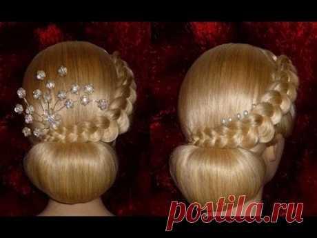 Вечерняя, свадебная причёска на средние/длинные волосы.Причёска на выпускной.Пучок из волос