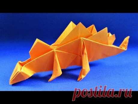 Как сделать динозавра из бумаги. Оригами Стегозавр