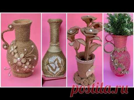 4 DIY Jute Flower Vase/4 DIY Jute Flower Vase/ Rope Flower Vase/ Jute Rope Crafts
