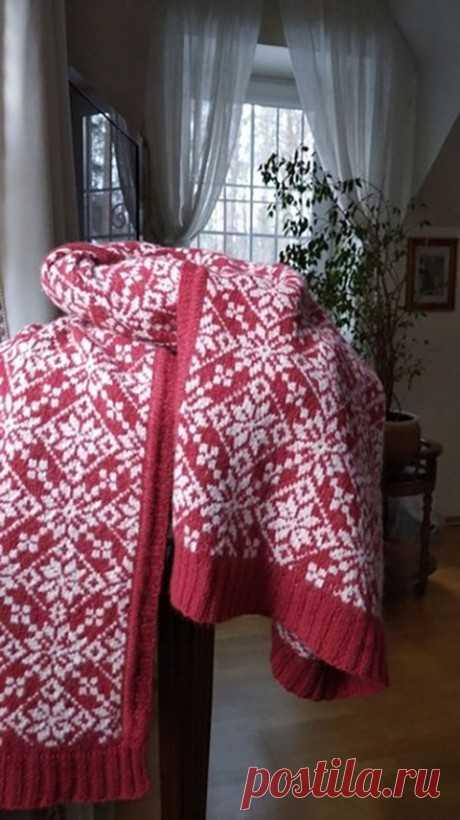 Жаккардовый палантин спицами, Вязание для женщин