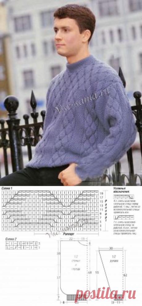 Джемпер мужской спицами - Мужские пуловеры, свитера, джемпера спицами