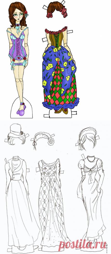 """""""Красотка Бетси."""" :)бумажная куколка с большим набором нарядов"""