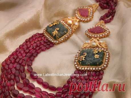 Ruby Beads Ornate Necklace