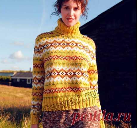 Свитер жаккардом - Хитсовет Модный женский свитер, связанный спицами жаккардом со схемой и пошаговым бесплатным описанием вязания.