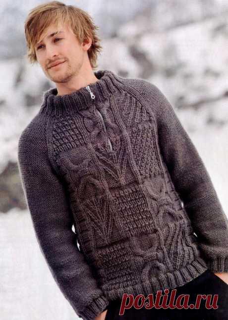 Пуловер для мужчин с рельефным узором | Шкатулочка для рукодельниц