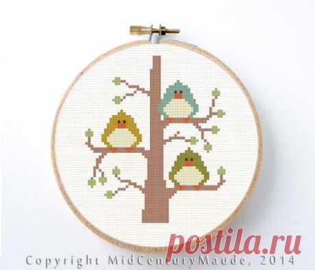 Cute modern birds cross stitch pattern 3 little birds in a   Etsy