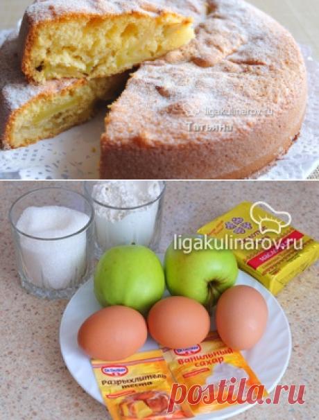 Бисквитный пирог с яблоками - рецепт с фото пошагово.