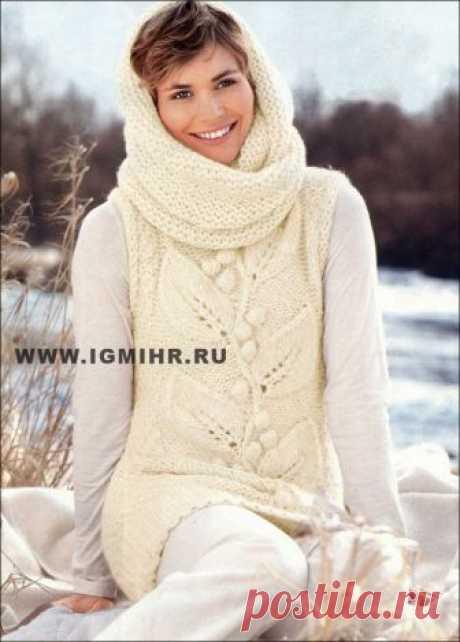 Теплая безрукавка с листьями и выпуклыми шишечками, дополненная шарфом-хомутом. Спицы