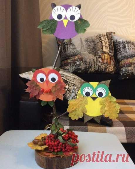 ПОДЕЛКИ ИЗ ЛИСТЬЕВ ДЛЯ ДЕТЕЙ. Осенние совушки 🦉 - простая поделка из цветного картона и листьев