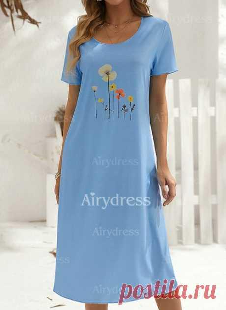 Повседневное длины макси Платья с цветочным принтом с короткыми рукавами - Airydress