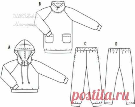 Детские анорак, брюки и легинсы  Размеры выкроек: 104-164 Источник указан внутри файла