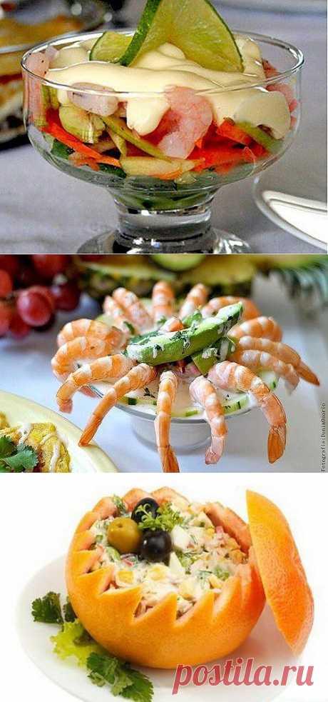 Салаты с креветками: легкая изысканность / Простые рецепты
