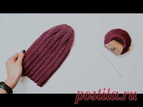 ШАПКА ТЫКОВКА КРЮЧКОМ. МК вязание шапки крючком для начинающих - YouTube