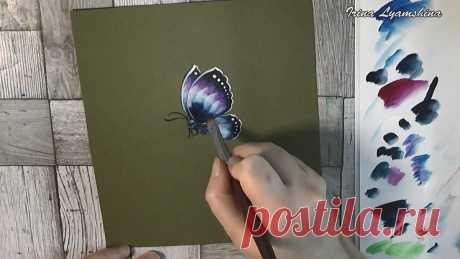 Рисуем бабочку акриловыми красками | О Творчестве с Ириной Лямшиной | Яндекс Дзен