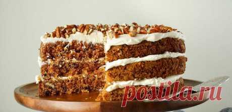 Морковно-ореховый торт на кефире с творожным кремом