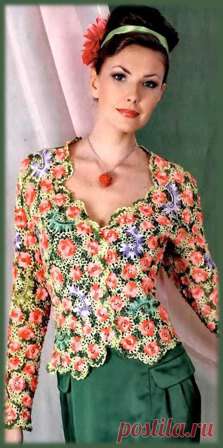 Жакет в цветах в технике ирландское кружево