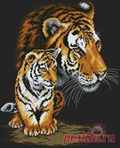 Вышивка крестиком. Семейство тигров. Схемы вышивки.