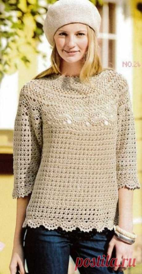 Пуловер с круглой кокеткой https://handlife.ru/vazanie/pulover-s-krugloy-koketkoy..