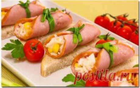 Рулетики из ветчины с салатом   Рецепты блюд