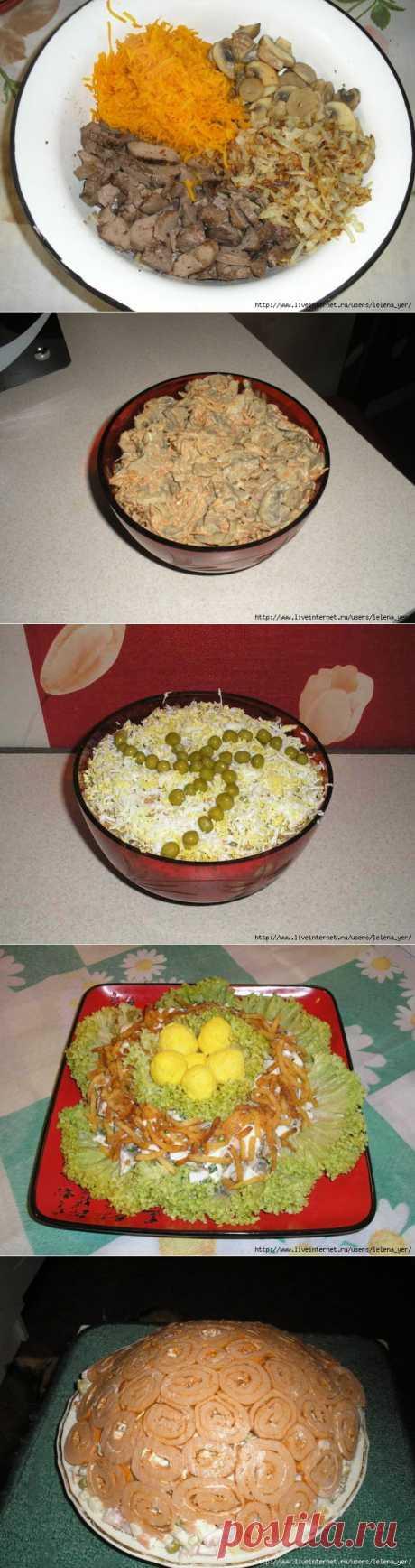 Зимний печёночный салат с грибами..