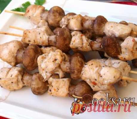 Шашлык из курицы с шампиньонами на шпажках фото рецепт приготовления