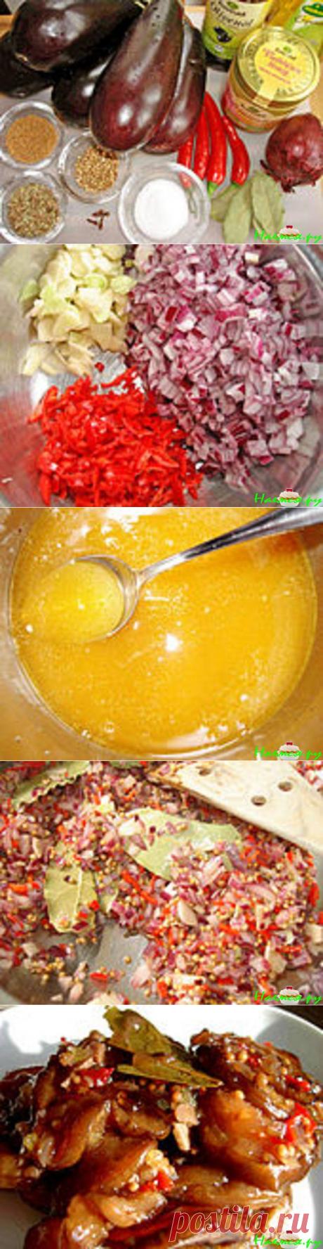 Пикантная заготовка на зиму: прянные баклажаны с мёдом