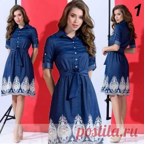 Нарядное джинсовое платье с вышивкой