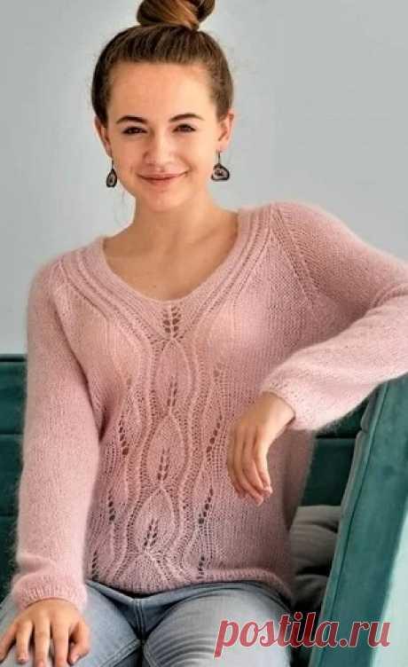 Пуловер Паутинка спицами - Узоры вязания спицами