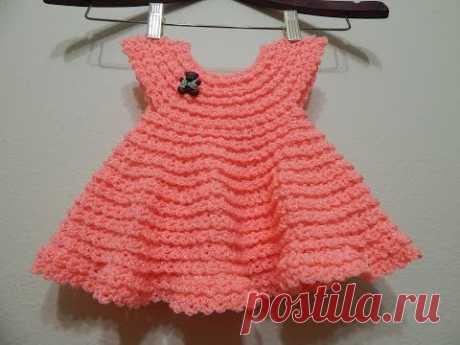 Vestido Crochet 0-3 meses y cualquier talla parte 1 de 2