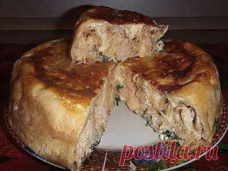 Как приготовить пирог на кефире с курицей - рецепт, ингредиенты и фотографии