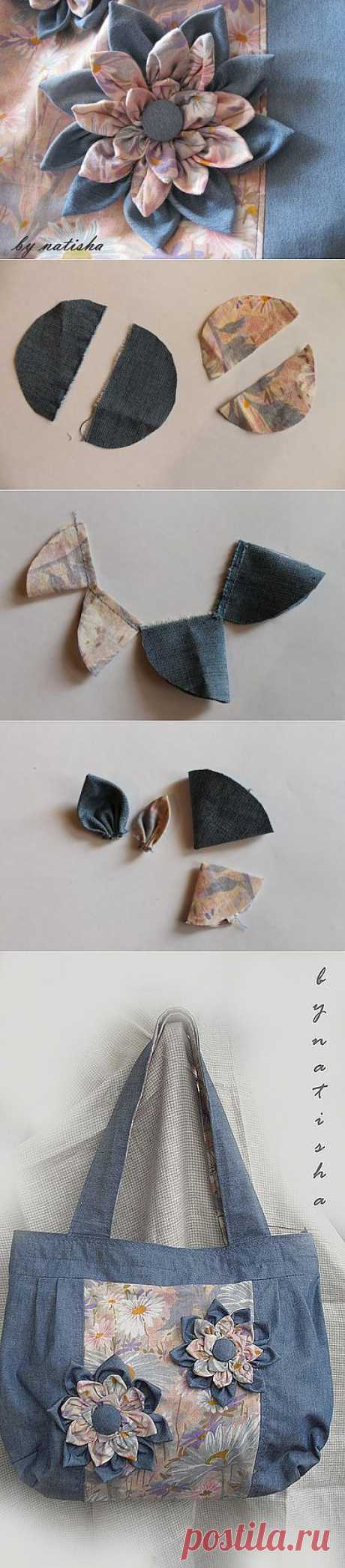 Для вдохновения, цитатник: Джинсовый цветок своими руками, для сумки или броши