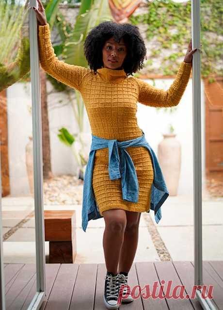 Vestido de Tricô Mostarda com Fio Cisne Portland - Blog do Bazar Horizonte